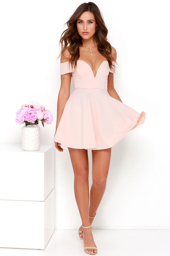 0ec13632110f Cute Off-the-Shoulder Dress - Light Pink Dress - Skater Dress -  49.00