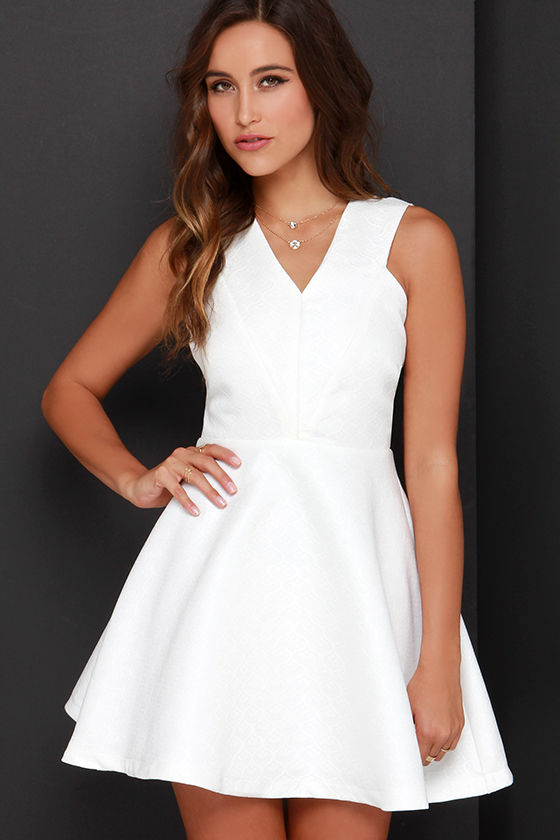 b2ef5ec2377e96 Ivory Dress - Skater Dress - Fit-and-Flare Dress - White Dress - $89.00