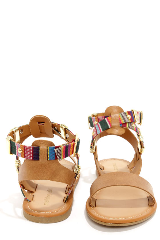 Madden Girl Orrtega Cognac Multi Print Sandals at Lulus.com!