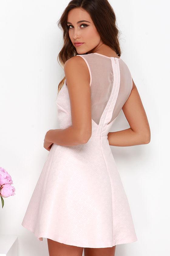 Blush Pink Dress Skater Dress Fit And Flare Dress 89 00