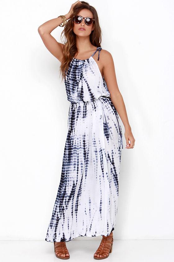 Blue Tie Dye Dress Maxi Dress 49 00