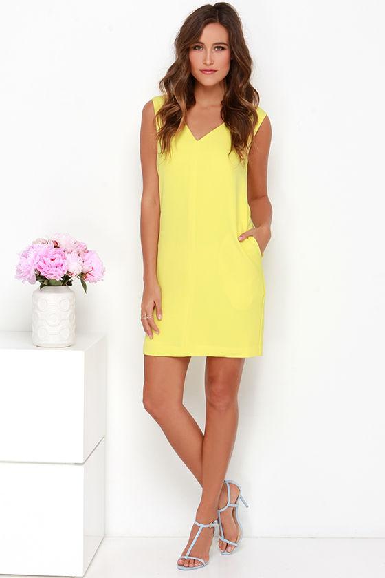 Cute Yellow Dress - Shift Dress - Sleeveless Dress - $84.00