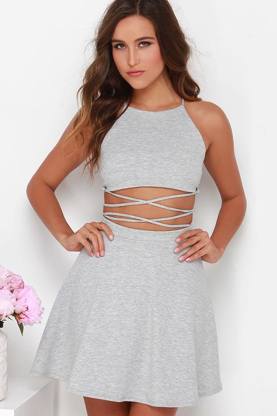 aa4626a09582 Two-Piece Dress - Heather Grey Dress - Skater Dress - Halter Dress -  44.00