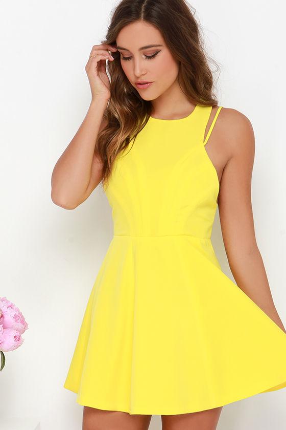 chic yellow dress  skater dress  5500