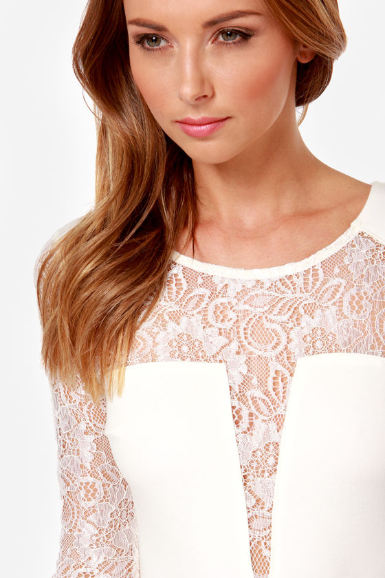 LULUS Exclusive All Over the Lace Ivory Lace Dress at Lulus.com!