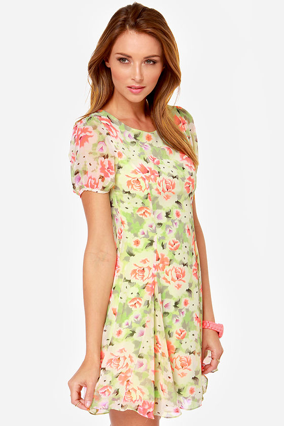 Keen on Neon Green Floral Print Dress at Lulus.com!