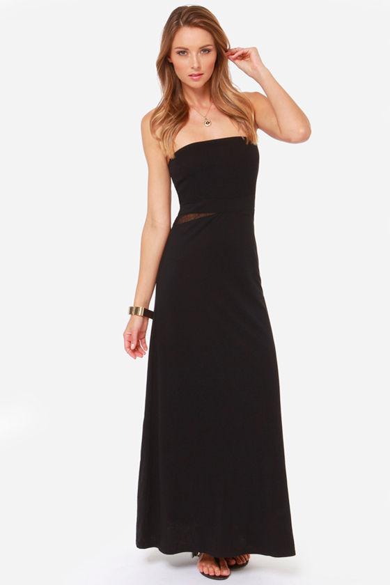Hurley Tomboy Dress - Black Dress - Maxi Dress - Strapless Dress ...