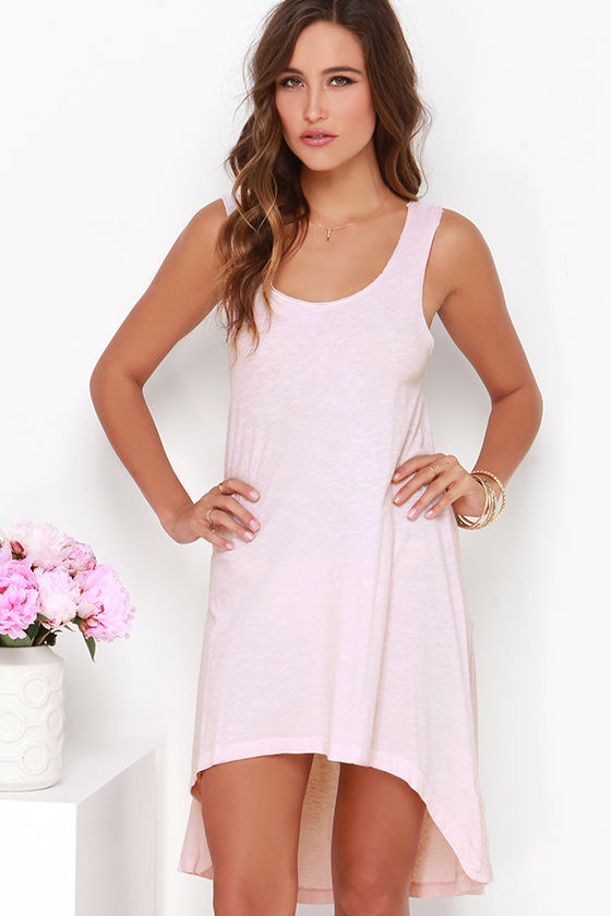 Casual High-Low Dress - Blush Pink Dress - Sleeveless Dress - $38.00