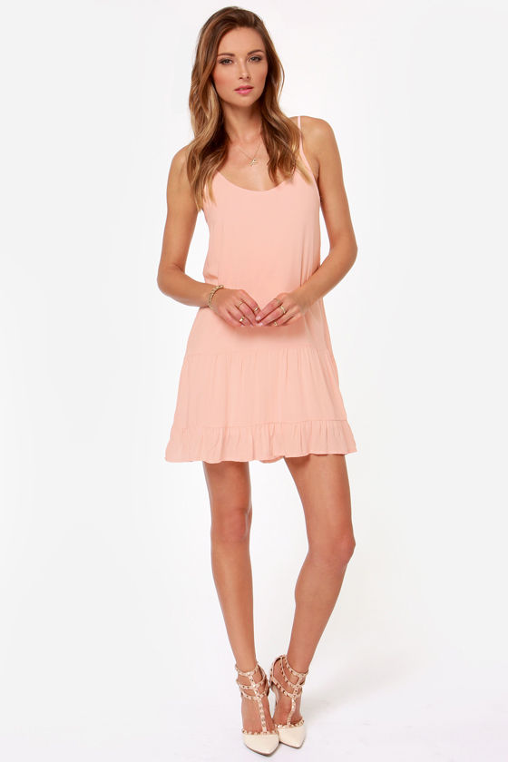 Did I Flutter? Peach Babydoll Dress at Lulus.com!