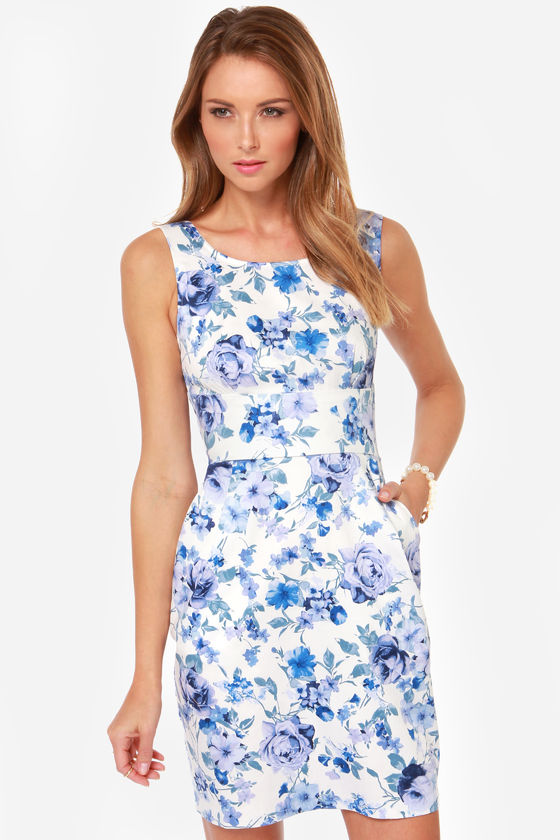 There She Rose Blue Floral Print Dress at Lulus.com!