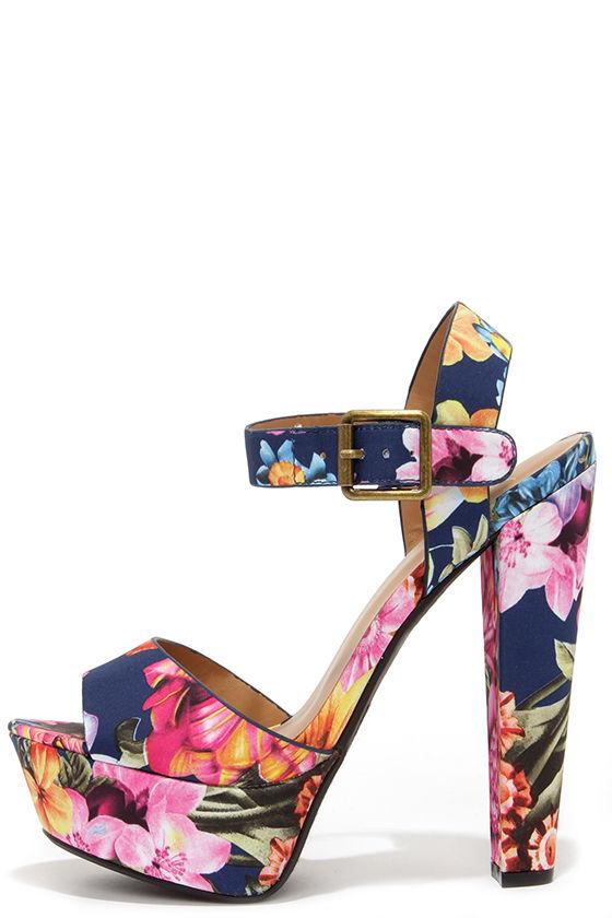 Cute Navy Blue Sandals Floral Heels Platform Sandals