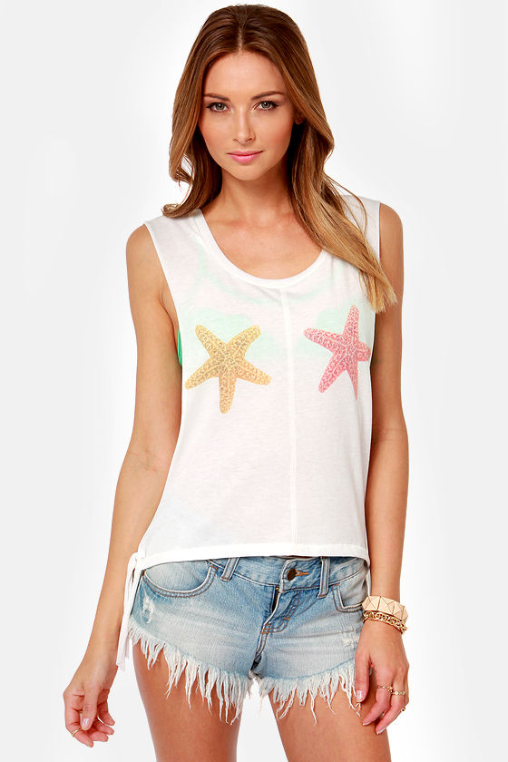 Billabong She Sells Ivory Muscle Tee at Lulus.com!