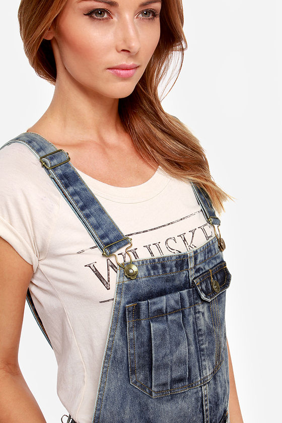 Billabong Ovah n Ovah Distressed Denim Overalls at Lulus.com!
