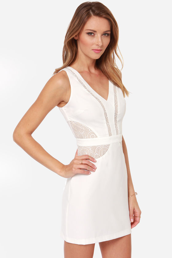 Sweet and Hourglass Ivory Lace Dress at Lulus.com!