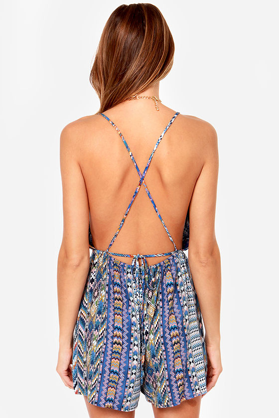 Southwest Fest Backless Blue Print Romper at Lulus.com!