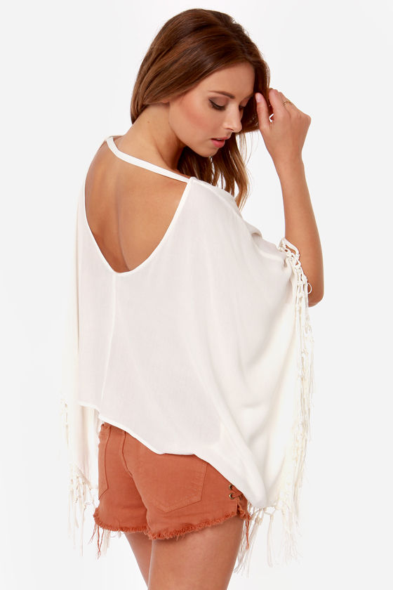 Love Flow Ivory Fringe Top at Lulus.com!