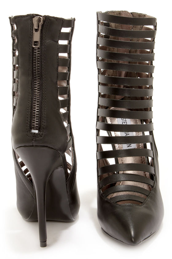 Steve Madden Lauper Black Caged High Heels at Lulus.com!