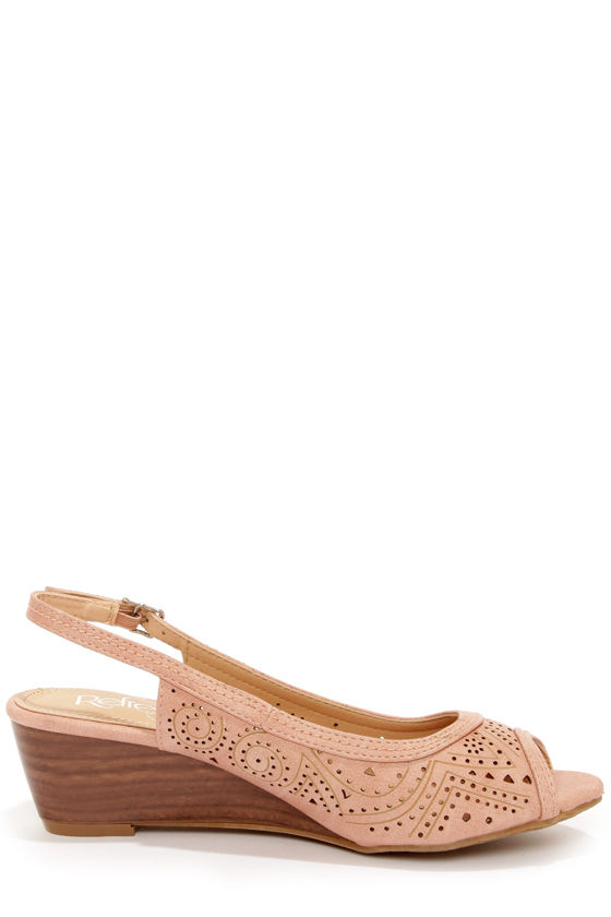 Rise 01 Blush Slingback Peep Toe Wedges at Lulus.com!