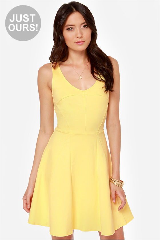 Yellow Fit and Flare Dresses