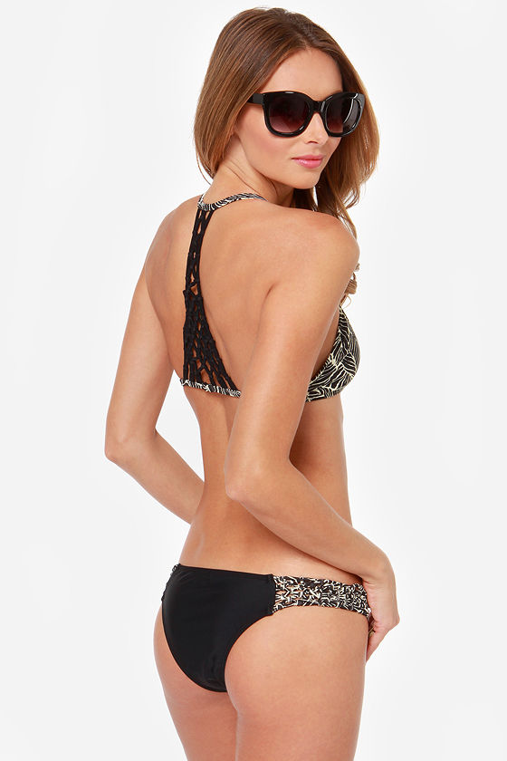 RVCA Namibia Swazi Cream and Black Print Bikini at Lulus.com!