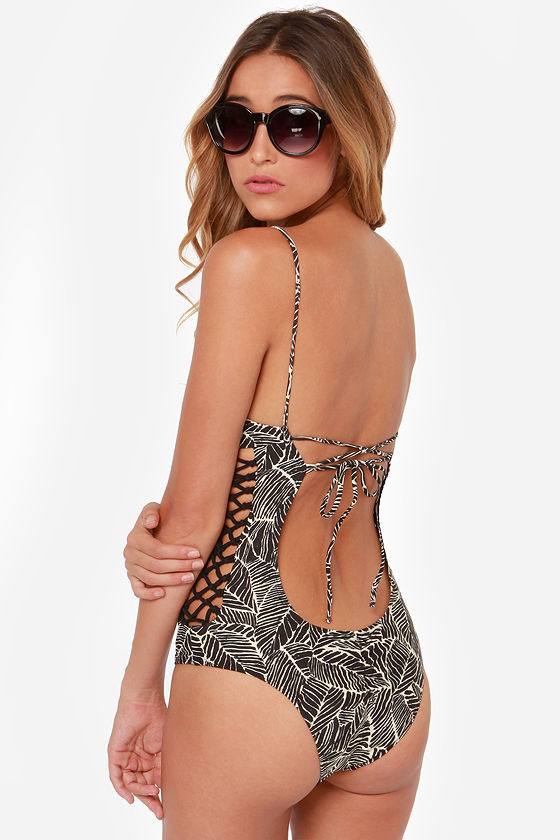 RVCA Lesotho Cream and Black Print One Piece Swimsuit at Lulus.com!