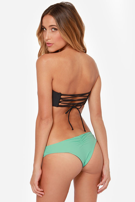 RVCA Cairo Botswana Mint and Black Bandeau Bikini at Lulus.com!