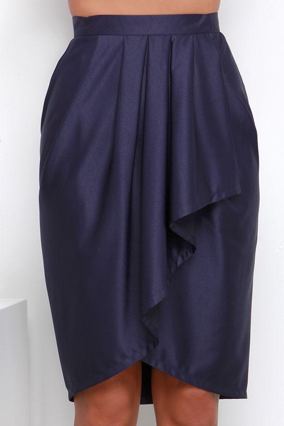 navy blue skirt wrap skirt high low skirt 43 00