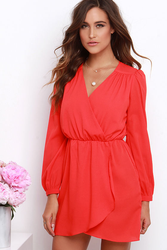 Lovely Coral Red Dress - Long Sleeve Dress - Wrap Dress - $44.00