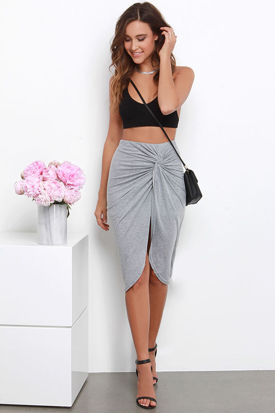 Chic Heather Grey Skirt - Midi Skirt - Wrap Skirt - High-Waisted ...