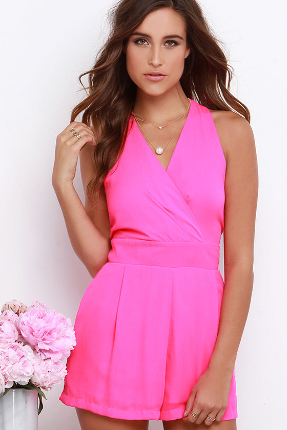 426fb9405d2 Cute Hot Pink Romper - Sleeveless Romper - Surplice Romper -  48.00