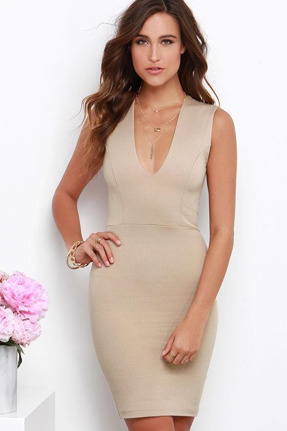 753ebe40cc8ce Sexy Beige Dress - Bodycon Dress - Sleeveless Dress -  38.00