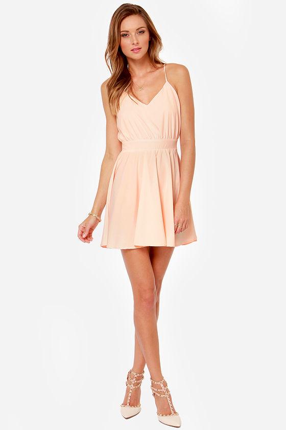 Lucy Love Penelope Dress - Light Peach Dress - Backless Dress - $75.00