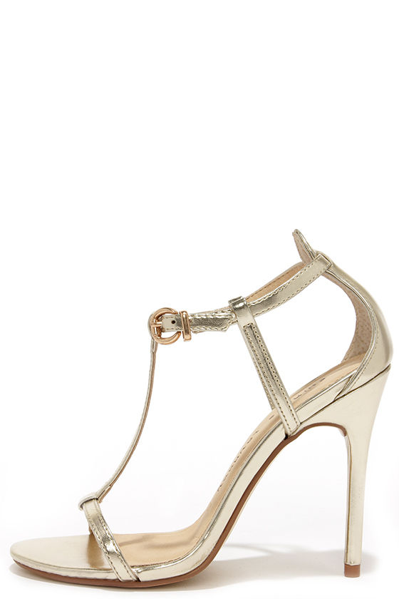 Pretty Gold Heels - T Strap Heels - Dress Sandals - $69.00