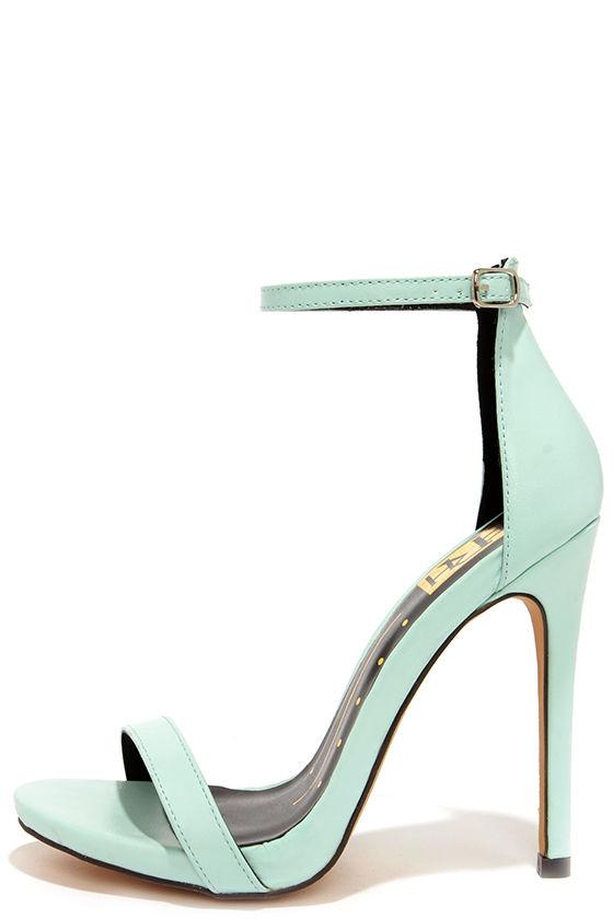 Pretty Mint Heels Ankle Strap Heels Single Sole Heels