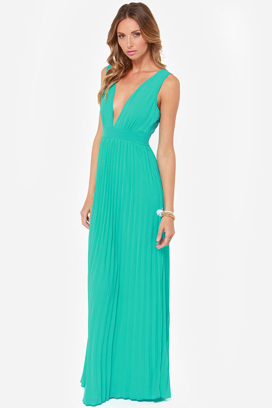 Gorgeous Maxi Dress - Aqua Maxi Dress - Pleated Dress - Teal Maxi ...