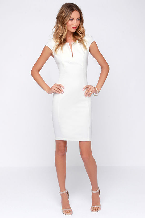 LULUS Exclusive Top Notch Ivory Midi Dress at Lulus.com!