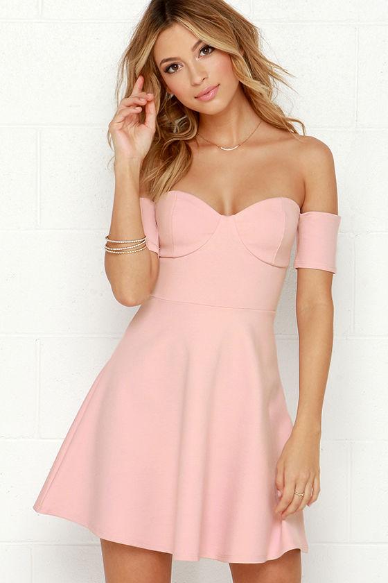 Blush Pink Dress - Off-the-Shoulder Dress - Skater Dress - $43.00