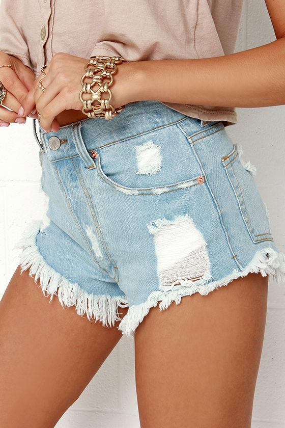 high waisted shorts light denim