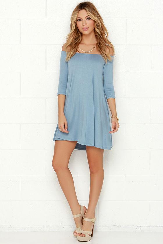 ad46ab2b1a Chic Light Blue Dress - Off-the-Shoulder Dress - Shift Dress - $34.00