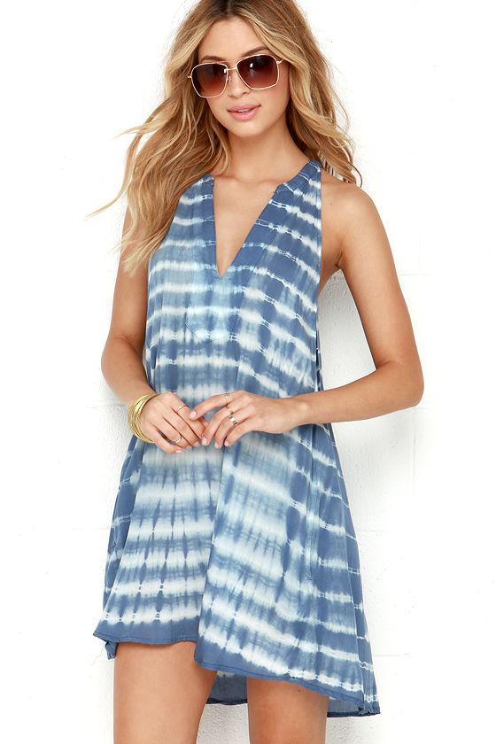 cdba9ee52624 Obey Jessa Dress - Tie-Dye Dress - Slate Blue Dress -  59.00