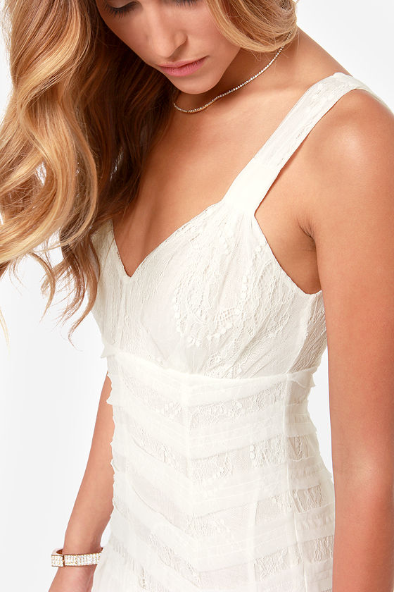 Black Swan Alice Ivory Lace Midi Dress at Lulus.com!