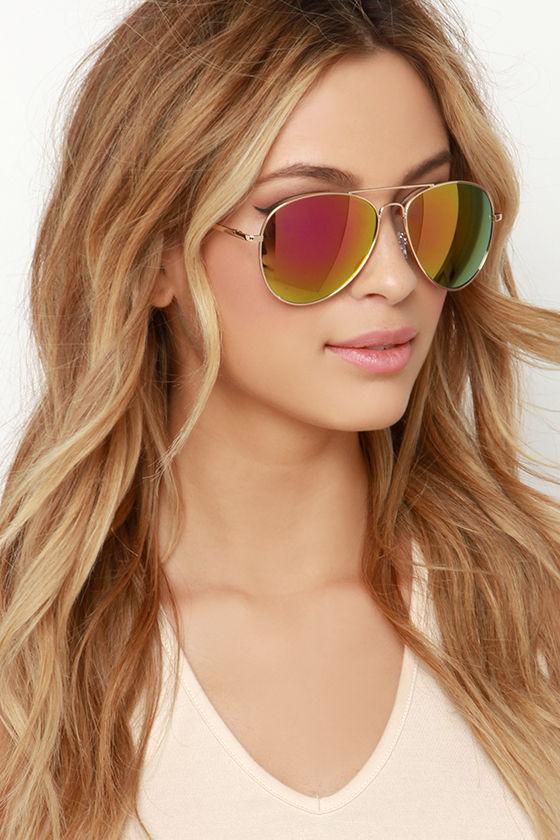 2842aa18c2 Gold and Pink Sunglasses - Mirrored Aviator Sunglasses