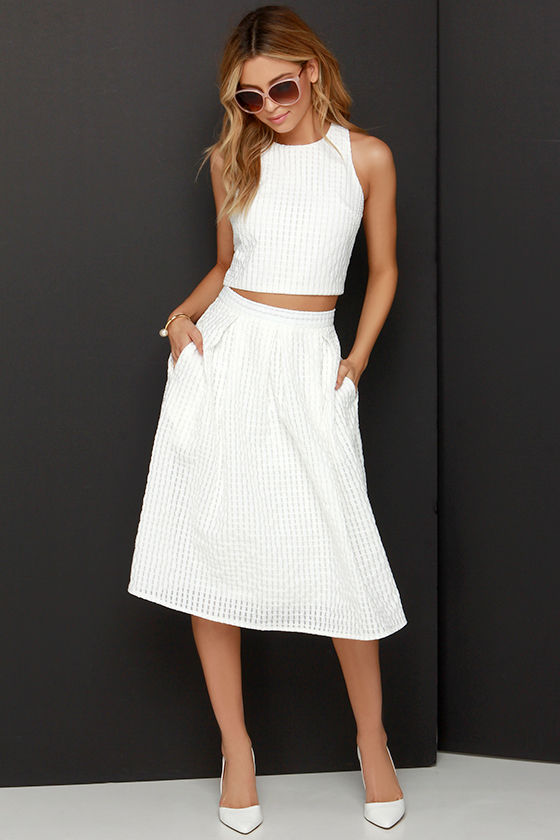 Chic Ivory Midi Dress - Two-Piece Dress - Pleated Dress -  69.00 e86f259e6