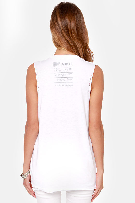 Laundry Room Flamingo City White Muscle Tee at Lulus.com!