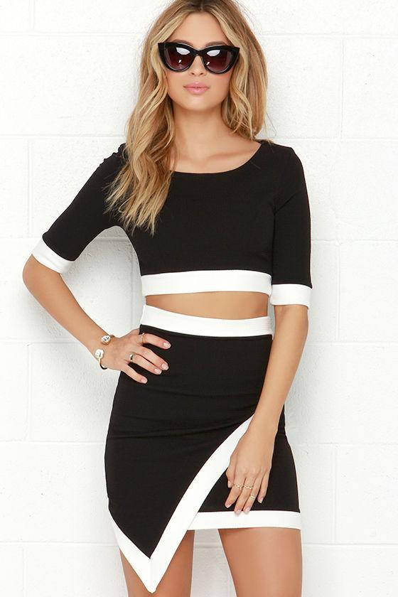 d25c52dbe9 Two-Piece Dress - Ivory and Black Dress - Bodycon Dress - $49.00
