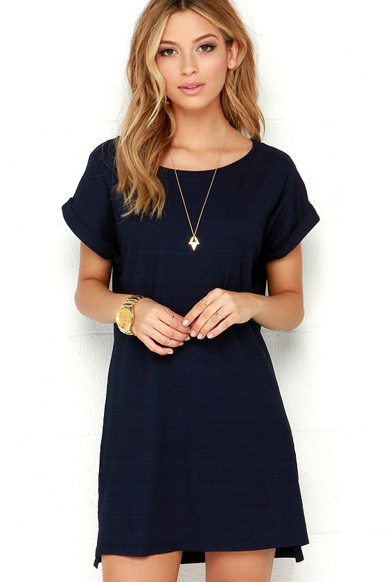 Obey Tatum Dress - Navy Blue Dres - Shirt Dress - T-Shirt Dress ...
