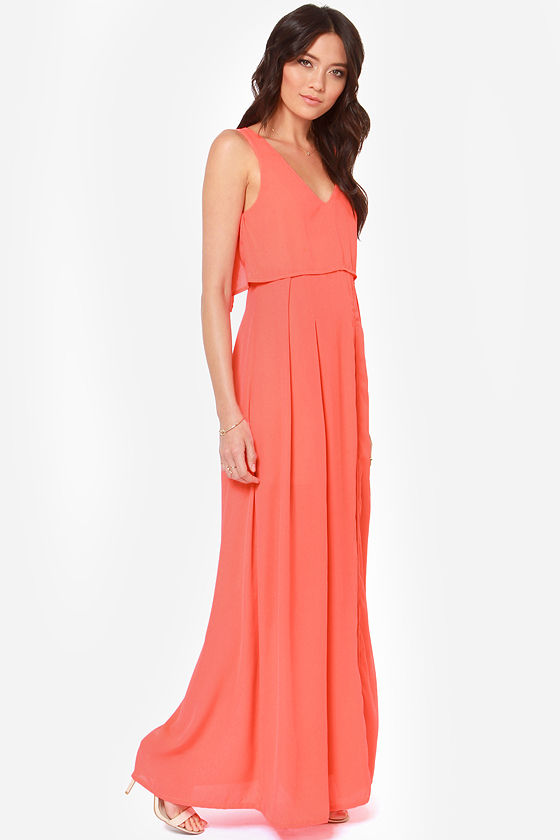 LULUS Exclusive Dual in Good Fun Beige and Neon Coral Maxi Dress at Lulus.com!