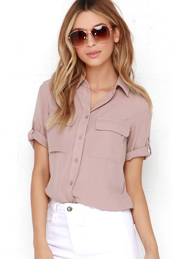 Cute Mauve Top Button Up Top Short Sleeve Top 44 00