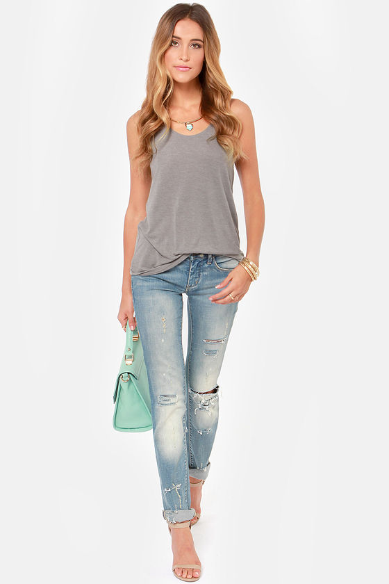 RVCA Label Brandie Grey Tank Top at Lulus.com!