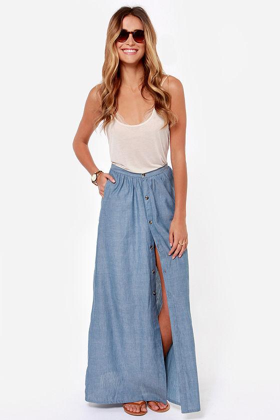 2aded0aa52 Cute Maxi Skirt - Denim Chambray - Maxi Skirt -  54.00